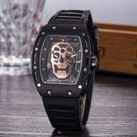 herren skelett uhrenmarken großhandel-Hohe Qualität Herren Luxusuhr Silikon Geist Kopf Skeleton Marke Uhren Schädel Sport Quarz Hohl Armbanduhren Uhr Geschenke