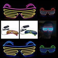 Wholesale christmas sunglasses lights - LED Sunglasses Flashing EL Wire Luminous Light Up Neon Glasses Costumes Party Decorative Lighting Activing Prop Party Decoration OOA5240