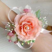 corsage armbänder großhandel-Braut Handgelenk Blume Corsage Brautjungfer Schwestern Hand Blumen Hochzeit Prom Künstliche Seidenblumen Armband Freies Verschiffen