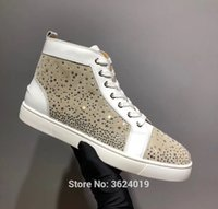 cl andgz high-Top creamy-white Star diamond Outdoor Sports Lace-up Red  bottom for man shoes loafer Sneakers leather casual 2018 07fb955fa97c
