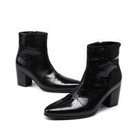 botas de dedo apontadas de estilo britânico venda por atacado-Botas de couro de patente dos homens preto apontou toe de borracha sola estilo britânico negócios ankle boots curto sapatos masculinos 2018