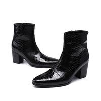 i̇ngiliz stili sivri parmak çizmeleri toptan satış-Erkek rugan çizmeler siyah sivri burun kauçuk taban ingiliz tarzı iş kısa ayak bileği çizmeler ayakkabı erkek 2018