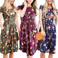 Wholesale Short Midi Dress Cotton - 2018 New Fashion Clothing Womens Summer Casual Dress With Floral Short Sleeve Midi Dress A -Line Flare Vintage Dress FU040
