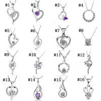 Wholesale Purple Cubic Zirconia Necklace - High quality Romantic Crystal CZ diamond pendant without chains Sterling Silver white purple Cubic zirconia Heart charm fit necklace Jewelry