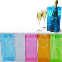 Wholesale ice bucket champagne - Chiller Ice Bag Champagne Wine Cooler 0.5mm 11*11*25cm Wine Accessories Portable Beer Cooler Transparent PVC Bag Ice Buckets 100pcs OOA5219