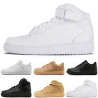 Wholesale cheap sneakers for sale - Cheap fashion forcing Mid low White black Flax men women running shoes designer mens trainers Skateboard sports sneakers size