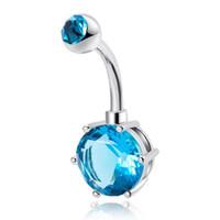 botones azules mezclados al por mayor-Comercio al por mayor Mixta Sexy Crystal Blue Belly Bars Anillos del Ombligo Piercing del Vientre Zircon Regalo Joyería Del Cuerpo Piercing Ombligo Anillos Envío Gratis