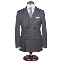 Wholesale Tailor Made Formal Pants - Custom Made Men's Wedding Suits Groom Tuxedos Jacket+Pant+Tie Formal Suit Double Braested Grey Plaid Tailored Made suit for man