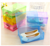 Wholesale Modern High Heel Shoes - Transparent Shoebox with Lid Clear Plastic Shoes Clamshell Storage Boxes Bins DIY Boots High Heels Shoes Boxes Home Organizer wen5439