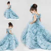 Wholesale Image Ice - New Pretty Flower Girls Dresses 2018 Ruched Tiered Ice Blue Puffy Girl Dresses for Wedding Party Gowns Plus Size Pageant Dresses Sweep Train