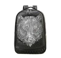 Wholesale cool new backpacks resale online - New D tiger head big capacity travel backpack college trend cool student bag pack animal bag