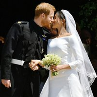 Wholesale satin mermaid wedding dress flare resale online - Elegant Prince Harry Meghan Markle Long Sleeves Wedding Dresses fit and flare Bateau Neck Long court train Bridal Party Gowns
