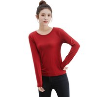 t-shirt elegante frau großhandel-2018 Herbst-Frauen-T-Shirt beiläufige grundlegende lange Hülsen-T-Shirt O-Ansatz dünne dünne Oberseiten-Pulloverfrauen-Tuniken elegantes Damen-T-Shirt