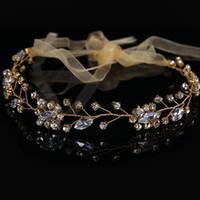 ingrosso gioielli della fascia di fronte-Splendidi fasce di cristallo fatti a mano per i monili dei capelli delle donne fronte ornamenti per capelli fascia di seta da sposa accessori per capelli da sposa