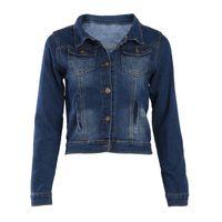 ingrosso giacca femminile a manica corta-Femminile Jean Giacche coreana Breve casual Giacca di jeans delle donne del cappotto a maniche lunghe tuta sportiva del cappotto Abrigos Mujer