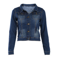 kore kot pantolon şortu toptan satış-Kadın Jean Ceket Kore Kısa Casual Denim Ceket Kadın Coat Uzun Kollu Kabanlar Coat Abrigos Mujer