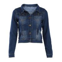 koreanische jeans-shorts großhandel-Weiblich Jean Jacken Korean Short beiläufige Jeansjacke Frauen Mantel Langarm-Oberbekleidung-Mantel Abrigos Mujer