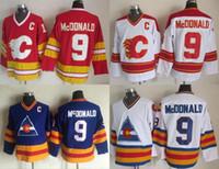 продажа майки оптовых-Factory Outlet Calgary Flames Mens # 9 Lanny McDonald синий белый Красный Vintage Throwback Хоккейные Jerseys Горячие продажи