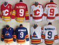 venta de camisetas de hockey vintage al por mayor-Factory Outlet Calgary Flames para hombre # 9 Lanny McDonald azul blanco Rojo Vintage retroceso Hockey Jerseys Venta caliente