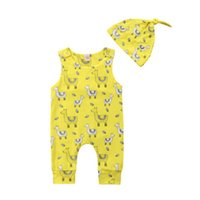 Wholesale animal romper hat for sale - Toddler Baby Boys Girls clothes sleeveless round neck Geometry Romper animal print Hat pc kids casual cotton newborn Outfits