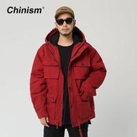 подогреватель красного вина оптовых-CHINISM Wine Red Multi Pockets Hooded Parkas Mens Winter Thick Warm Outwear Coats Loose Stylish  Hoodie Parkas
