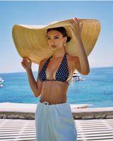 modèles de chapeau de plage achat en gros de-axi01807 été photographié modèle défilé de mode passerelle 35 cm vent bord plage de loisirs dame cap femmes vacances chapeau de soleil