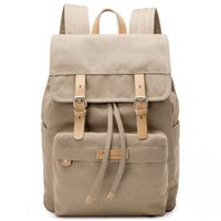 Wholesale canvas satchel backpack for women resale online - Canvas Backpack For Women Men Unisex Satchel School Bags Solid Beige Rucksack School Backpack Bags