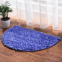 wohnzimmer teppichfarben großhandel-Neue Multi Farben Mikrofaser Bad Teppich Anti-rutsch-boden Teppich Halbkreis Badematte 40 * 60 cm Badezimmer Teppich Wohnzimmer matte Teppiche Für Küche