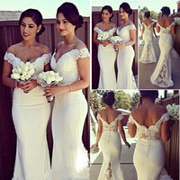 Wholesale Wedding Dress Cream White - 2018 Plus Size Lace Cheap Bridesmaid Dress Off The Shoulder Vintage With Short Sleeves Wedding Party Dresses Mermaid Cream Bridesmaid Gown