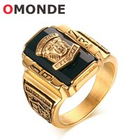 Wholesale Zirconia Solitaire Rings - OMONDE Mens Gold Color Stainless Steel Walton Tigers Head Stone Ring 1973 Army Finger Rings for Male General Soldier Fashion Jewelry
