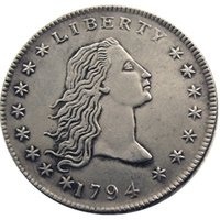 ingrosso ottone unito-Stati Uniti Monete 1794 Capelli fluenti Ottone placcato argento dollaro bordo liscio Promozione prezzo di fabbrica economico bella casa