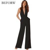 a4fe13f9d5c BEFORW New Arrival Summer Jumpsuits for Women 2018 Fashion Black Deep V  Neck Elegant White Wide Leg Pants Jumpsuit Clubwear Y1891807