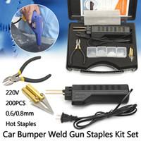 outils de réparation d'armes à feu achat en gros de-Agrafeuse à chaud professionnelle Système de réparation en plastique Pistolet de soudage Carénage de pare-chocs Outil de carrosserie Soudeuse en plastique + 200 agrafes
