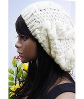 белая вязаная шапочка оптовых-fashion Women Lady Beret Braided Baggy OpenBeauty Beanie Crochet Hat Cap Fashion White