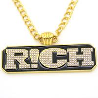 Wholesale Rap Necklaces - New Arrival Cool Letter RICH Pendant Necklace Hip Hop Bling Rap Fashion Pendants & Necklaces