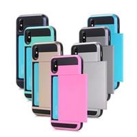 slot pour carte iphone achat en gros de-ID Card Slot Box Case pour iPhone X Galaxy Note 8 Wallet Card Pocket Armor Plastique dur