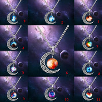Wholesale gemstone swarovski for sale - Group buy Necklaces Pendant Swarovski Elements Fashion Jewelry Cheap New Vintage Starry Moon Outer Space Universe Gemstone Pendant Necklaces KKA1761