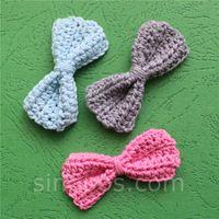 arco de sapatos de crochet venda por atacado-Handmade Crochet Bow Tie, menino bowtie menina cabelo headband padrão bebê coleira de estimação tecido scrapbook colcha de roupas sapato saco applique