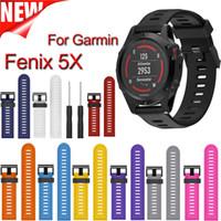 Wholesale Garmin Black - Wholesale-Multi-color Silicone Band for Garmin Fenix 5X,26mm Width Outdoor Sport Silicone Strap Watchband for Garmin Band
