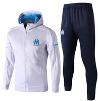 Wholesale Full Hats - Top quality 2017 2018 Olympique Marseille Soccer Tracksuit jacket Plus cashmere with hat GOMIS CABELLA PAYET SANSON football training kit