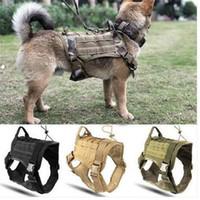 ropa de perro chalecos al por mayor-Policía K9 Tactical Training Dog Harness militar ajustable Molle Nylon chaleco de perro de la ropa