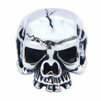 Wholesale Skull Polish - 1pc Newest Polish Top Quality Skull Ring 316L Stainless Steel Popular Fashion Biker Cool Skull Ring