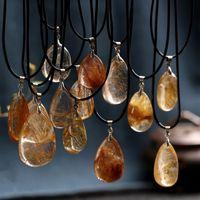 Wholesale mineral necklaces resale online - Natural Stones Rutilated Quartz Pendant Hair Crystal Free Necklace Mineral Specimen Garden Crystal Gost Quartz Jewelry Energy