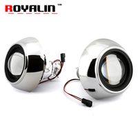 Wholesale bi xenon projector headlights for cars online - ROYALIN Mini Metal Bi Xenon H1 Projector Lens For IRIS Shrouds Car Styling H4 H7 For Audi A6 C6 External Headlight Retrofit