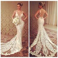 hermoso vestido delgado al por mayor-Sheer Beautiful Lace Slim Mermaid Wedding Dresses Vestidos de novia personalizados 2018 Custom Online Vestidos De Court Train Vestido de novia barato