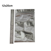 Wholesale aluminum grades - 12*20cm Heat Sealable Clear Mylar Plastic Ziplock Bag Package Retail Reclosable Silver Aluminum Food Grade Packing Zipper Zip Lock Bags