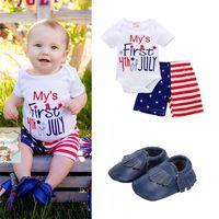 amerikanische babyschuhe großhandel-Baby 3-Stück-Sets Geschenk Strampler Shorts Babyschuhe Mein erster 4. Juli American Independence Day gedruckt Sommer Outfit
