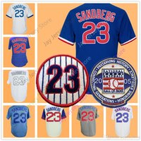 Wholesale Vintage Numbers - Ryne Sandberg Jersey With 2005 Hall Of Fame Patch & Number 23 Retirement Patch Vintage 1984 Flexbase Cool Base Chicago Cooperstown Jerseys