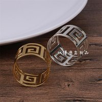 Wholesale stainless napkin holder online - Stainless Steel Napkin Ring Round Hollowed Out Design Napkins Holder For Wedding Banquet Table Decoration Supplies Fashion js BB