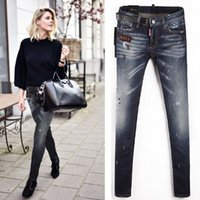 Wholesale Leg Painting - 2018 Cool Girl Skinny Fit Leg Jeans Women Light Blue Leather Belt Patch DD2 Painted Distressed Denim Trouser Girls